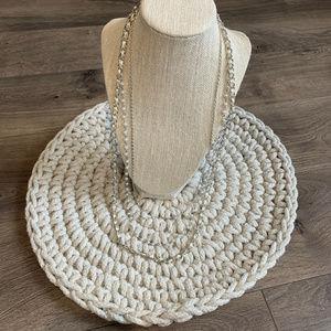 Ribbon Metal Pearl Multi-Strand Silver Necklace